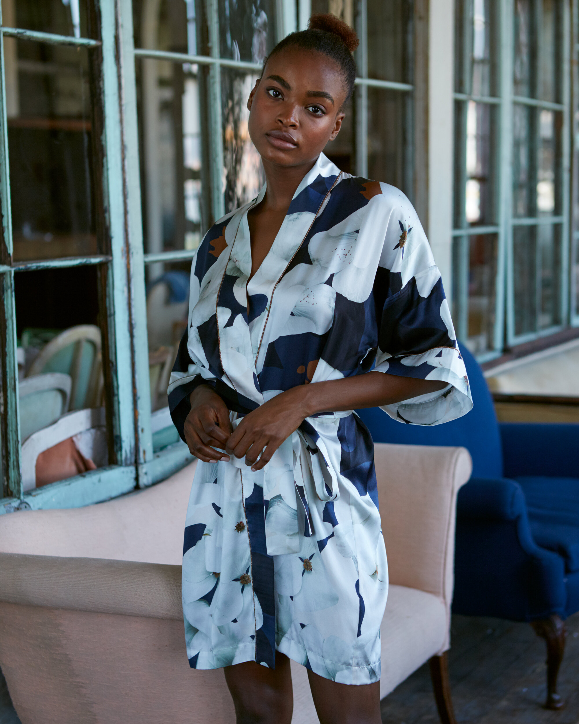 Violet & Wren Silk Kimono in Camo Bloom