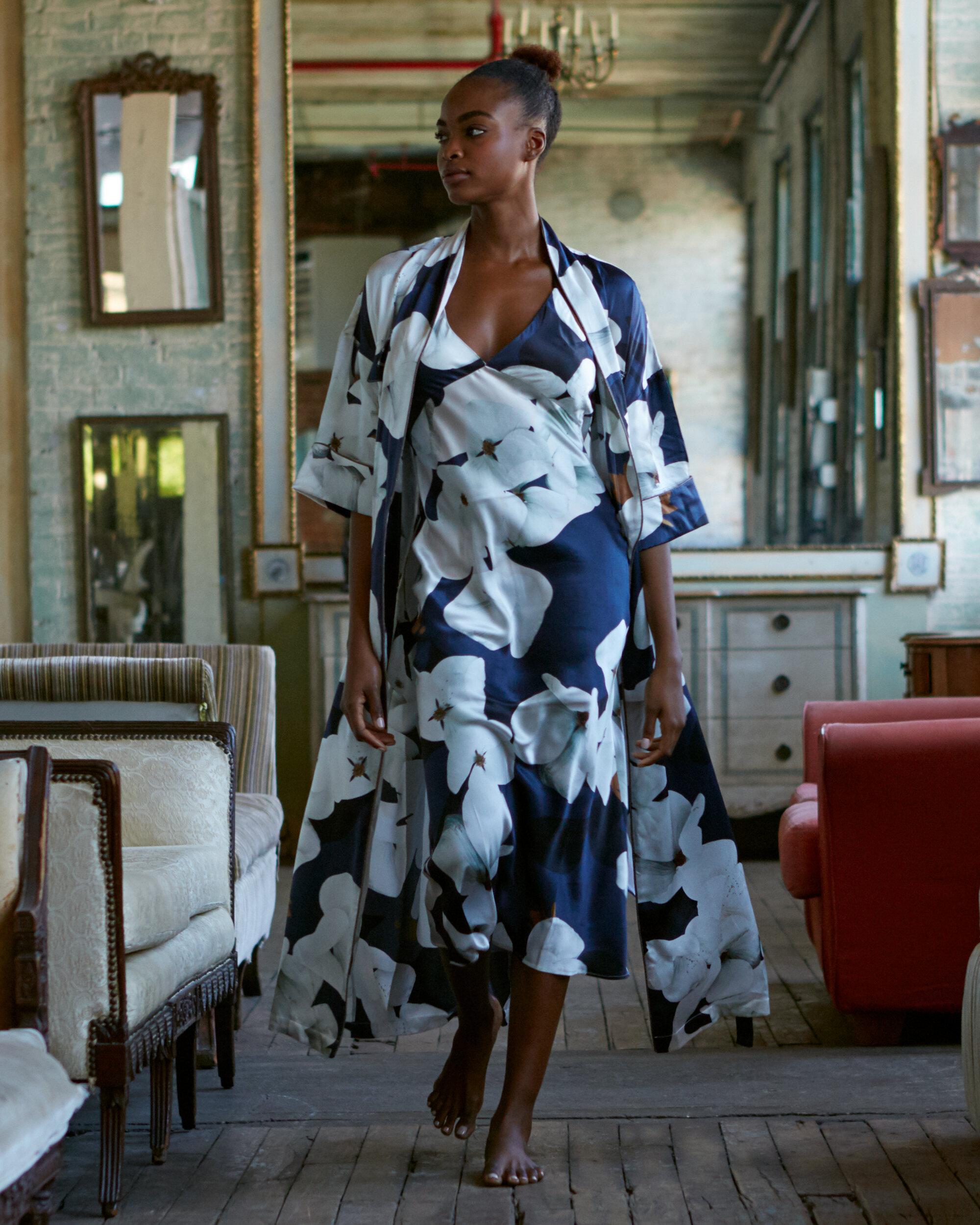 Violet & Wren Longline Silk Kimono and Bias Slip in Camo Bloom
