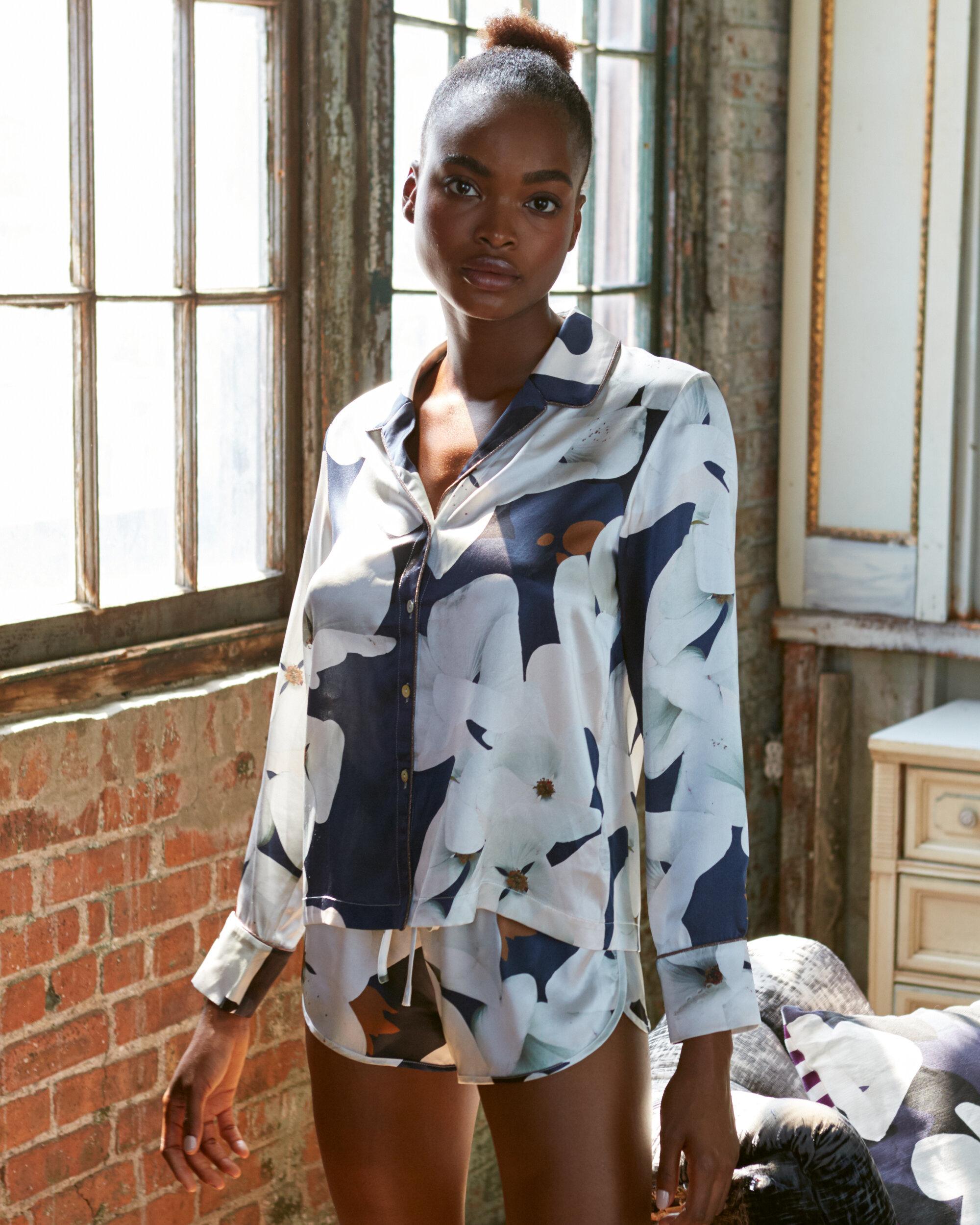Violet & Wren Silk Pyjama Shirt and Short in Camo Bloom