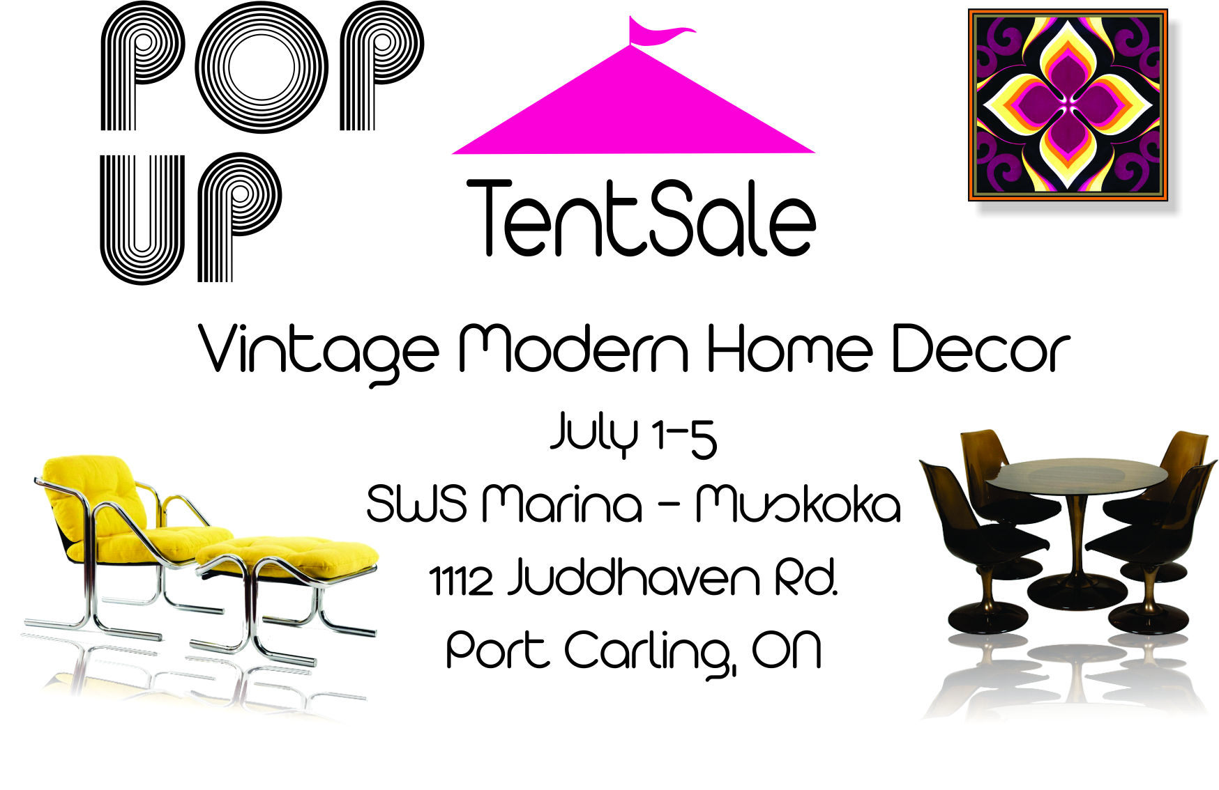 Our first pop up event in Muskoka was held July 1-5, 2015. Stay tuned for details about future sales.                                        Please contact us directly to inquire aboutpieces available for sale.