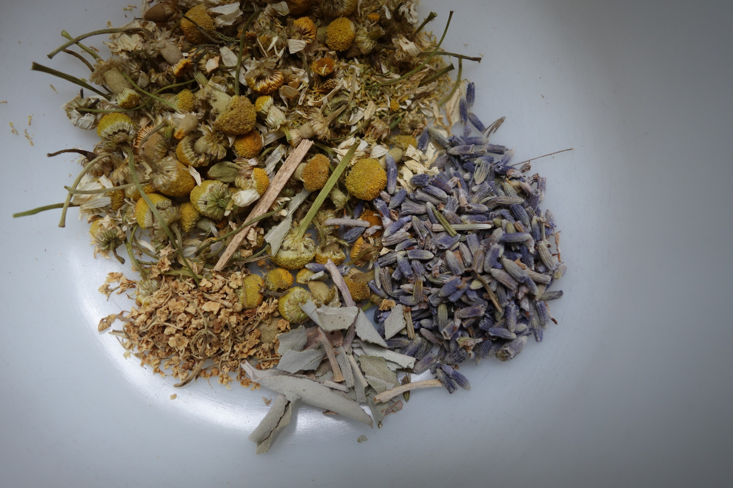 This is a calming blend with chamomile, lavender, sage, and elderflower.