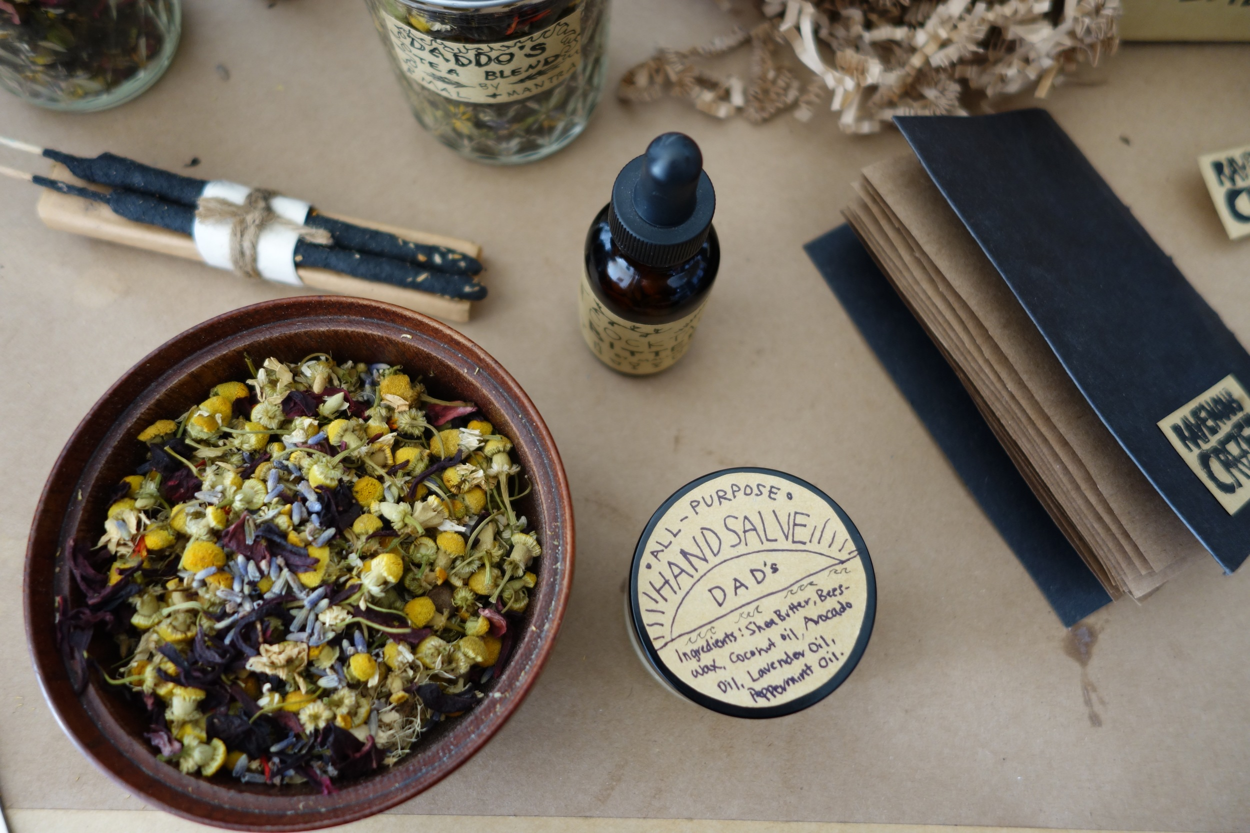 The tea blends make great gifts paired with our balms & salves, notebooks, and tinctures.