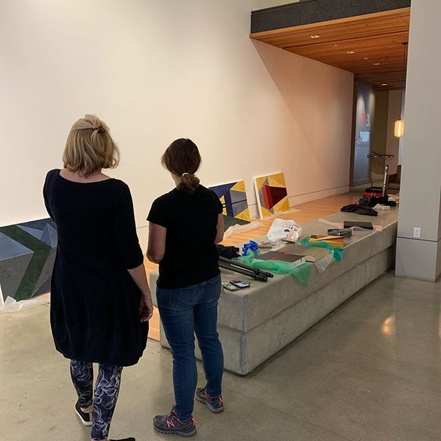 """We had a great time installing our latest exhibit: Lisa Greenfield's """"Color.Surface.Space."""" Don't miss our opening reception Wednesday, October 2 6:00-8:00"""