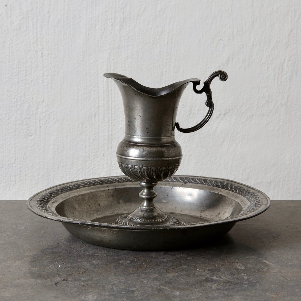 Pitcher With Plate Pewter Baroque Sweden L A S E R O W