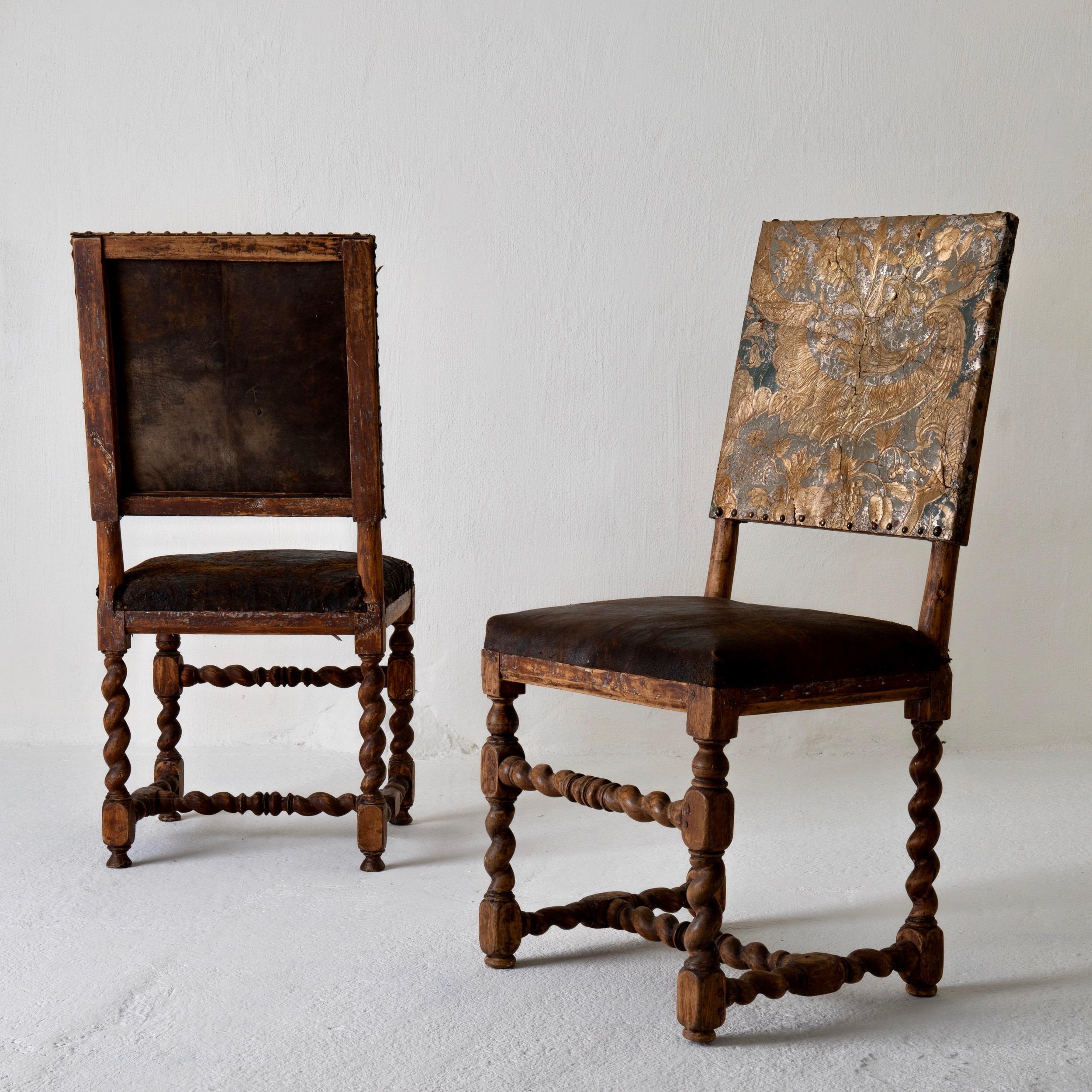 Chairs Pair Swedish Baroque 18th Century Sweden U2014 L A S E R O W