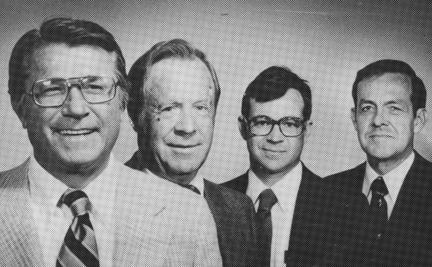 Four members of the 1978 original 11-person board of directors for the WNC Hall  (from left) president George Chumbley Jr., Gene Ochsenreiter Jr., treasurer Stan Cocke and vice-president Dr. Wayne Montgomery.