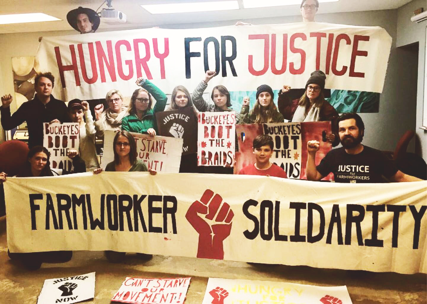 OSU students and Columbus community fasters (pictured above) initiate a weeklong fast in support of national Wendy's Boycott.