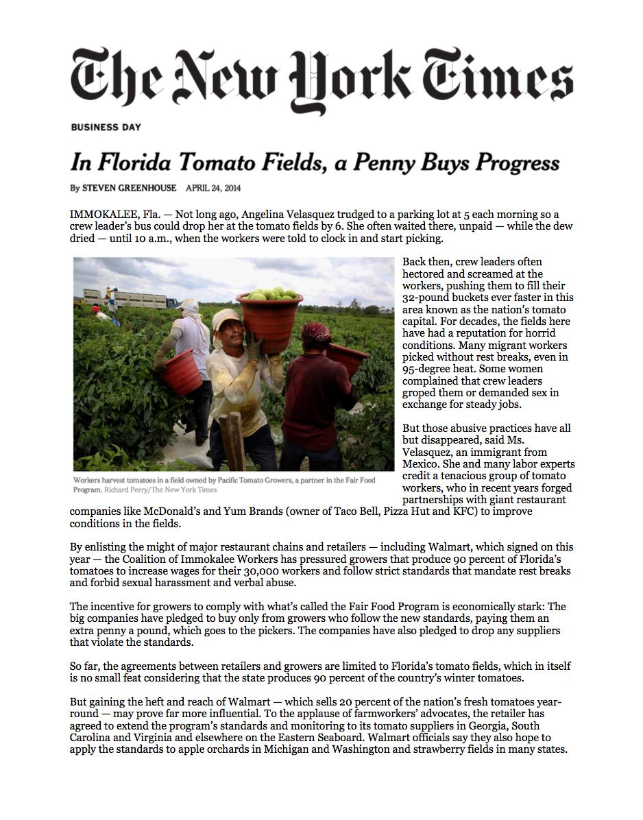 NYT: In Florida Tomato Fields, a Penny Buys Progress