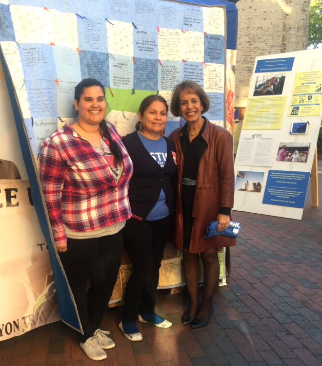 UNC Chancellor Carol Folt visits the CIW's mobile exhibit at the Campus Y.