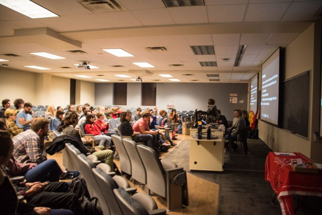 """Student leaders at Ohio State University host a teach-in, titled """"(Dis)orientation"""" at Lazenby Hall on Oct. 24, 2018. Photo credit: Courtesy of Elizabeth Andromeda"""