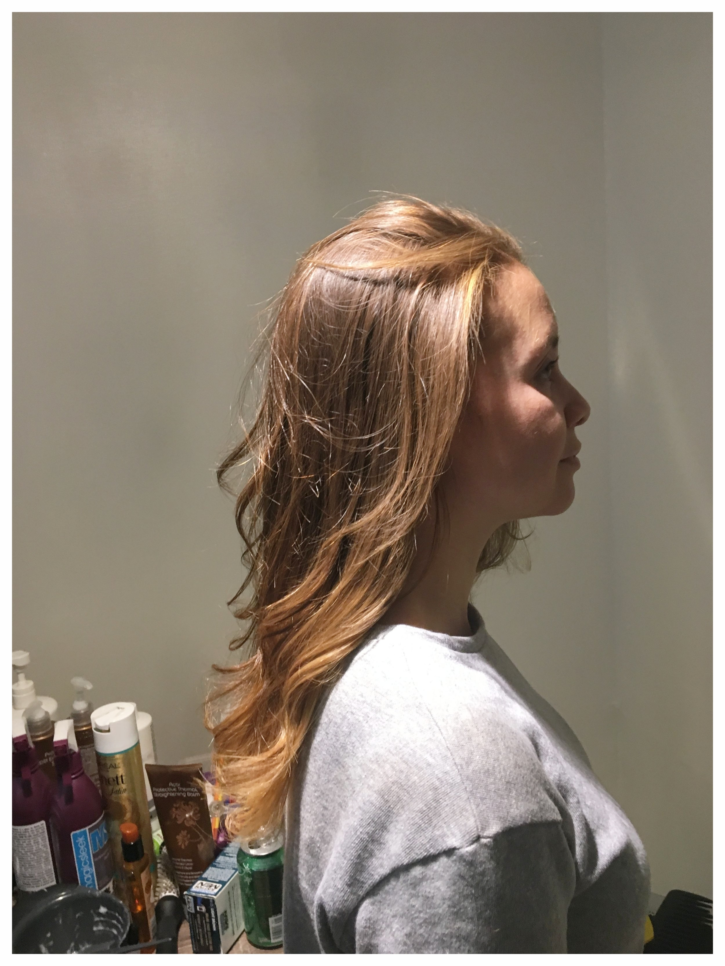 Side view of new color / bit blow dry