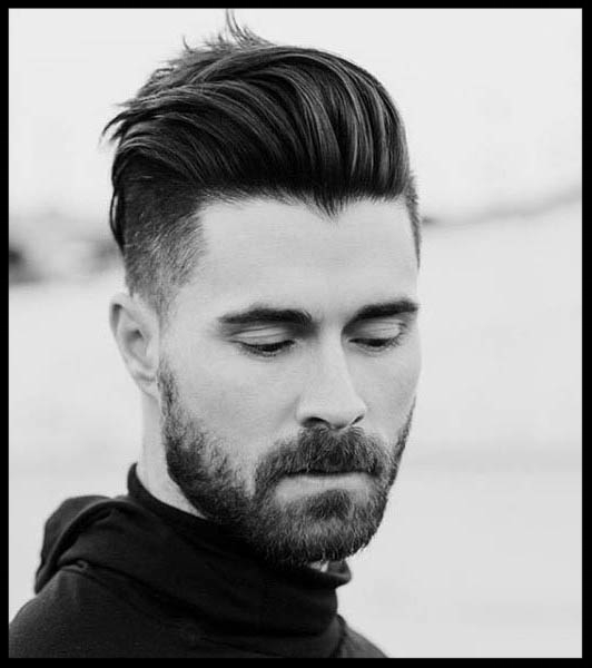 Male hair model with keratin treatment