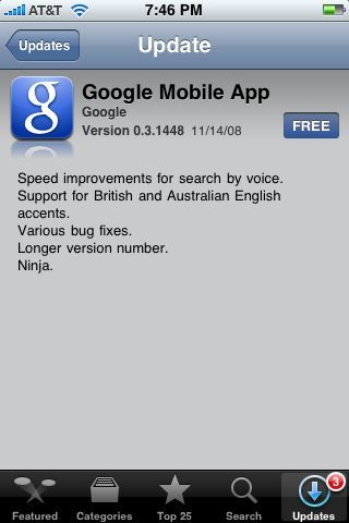 """Sweet. Now that the Google Mobile App includes """"Ninja"""", I'll totally use it more!"""