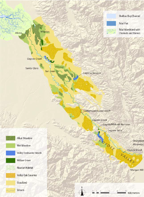 Map of the eastern portion of the Santa Clara Valley as re-constructed by historical ecologists. We see the valley dominated by grassland and valley Oak savanna.  From: Grossinger RM, Striplen CJ, Askevold RA, Brewster E, Beller EE (2007) Historical landscape ecology of an urbanized California valley: wetlands and woodlands in the Santa Clara Valley. Landscape Ecol 22: 103–120