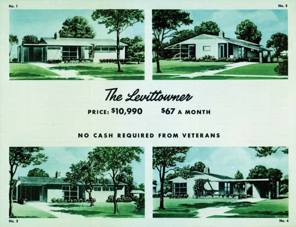 Housing developments in the from 40s onward would perpetuate the ideal, suburban lawn as seen here in an ad for a Levittown.