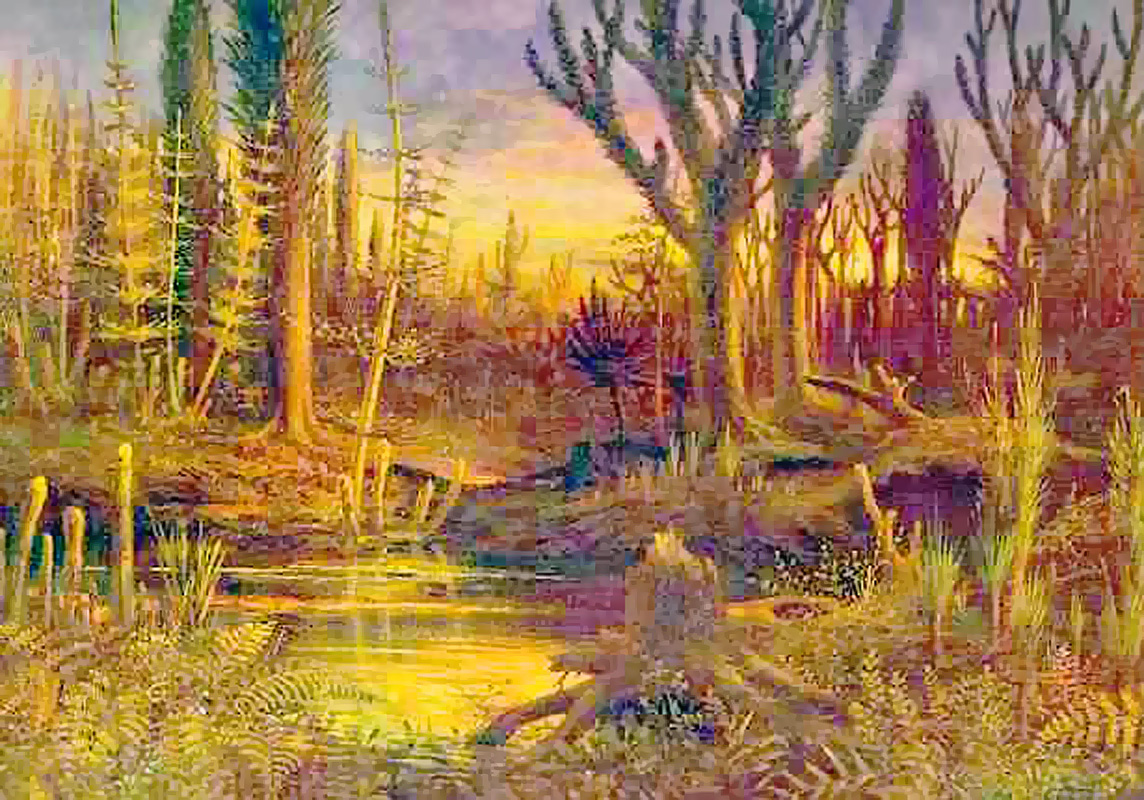There aren't that many renderings of Devonian early forests. This one, full of giant fungi, primitive trees and pixelation comes from Wikipedia.
