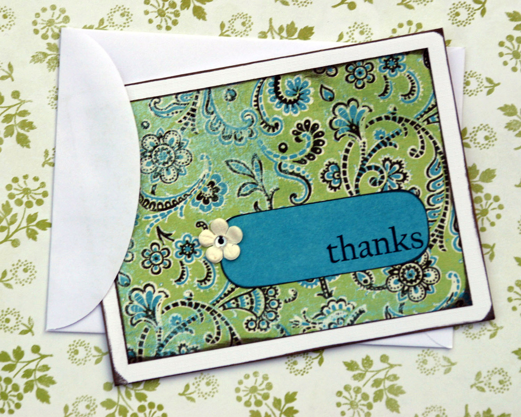 Paper greeting card optional. Saying thanks or planting a plant is more than enough. ( source )