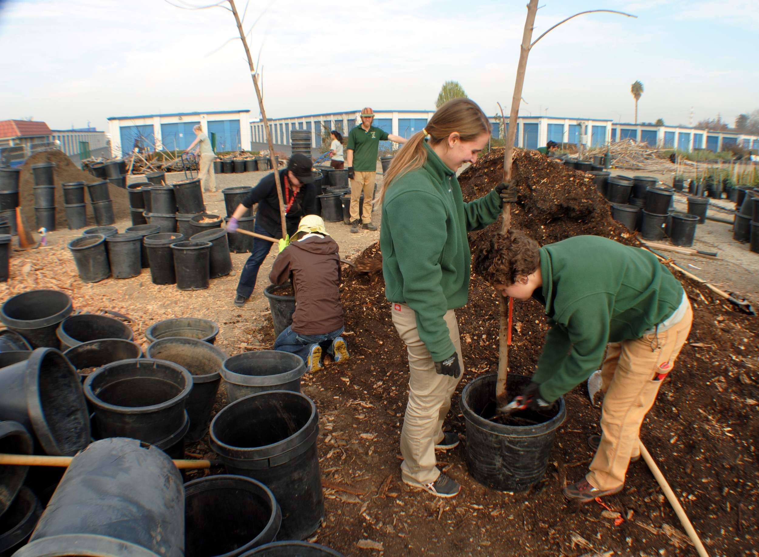 AmeriCorps Service Members potting up bare root trees with volunteers