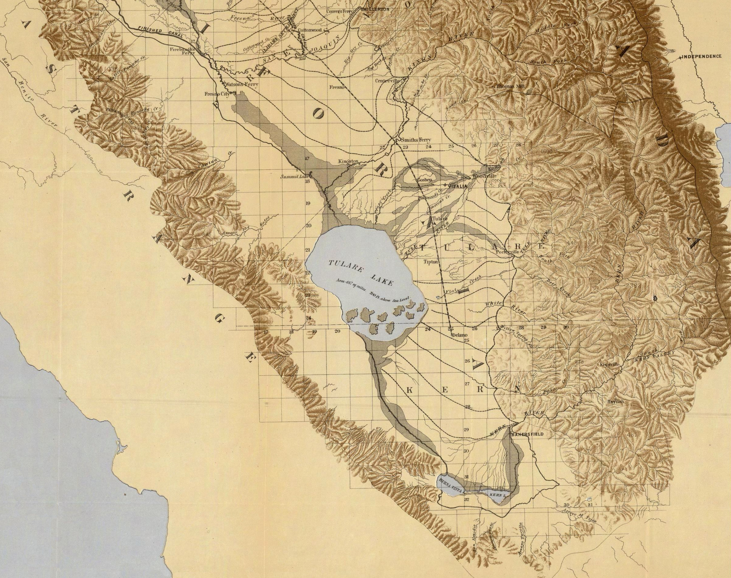 The Tulare Lake:  Von Board of Commissioners on Irrigation, California - David Rumsey Map Collection – Cartography Associates, Gemeinfrei,