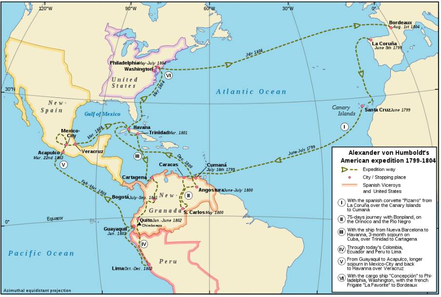 A map of Alexander von Humboldt's expedition through South America ( source )