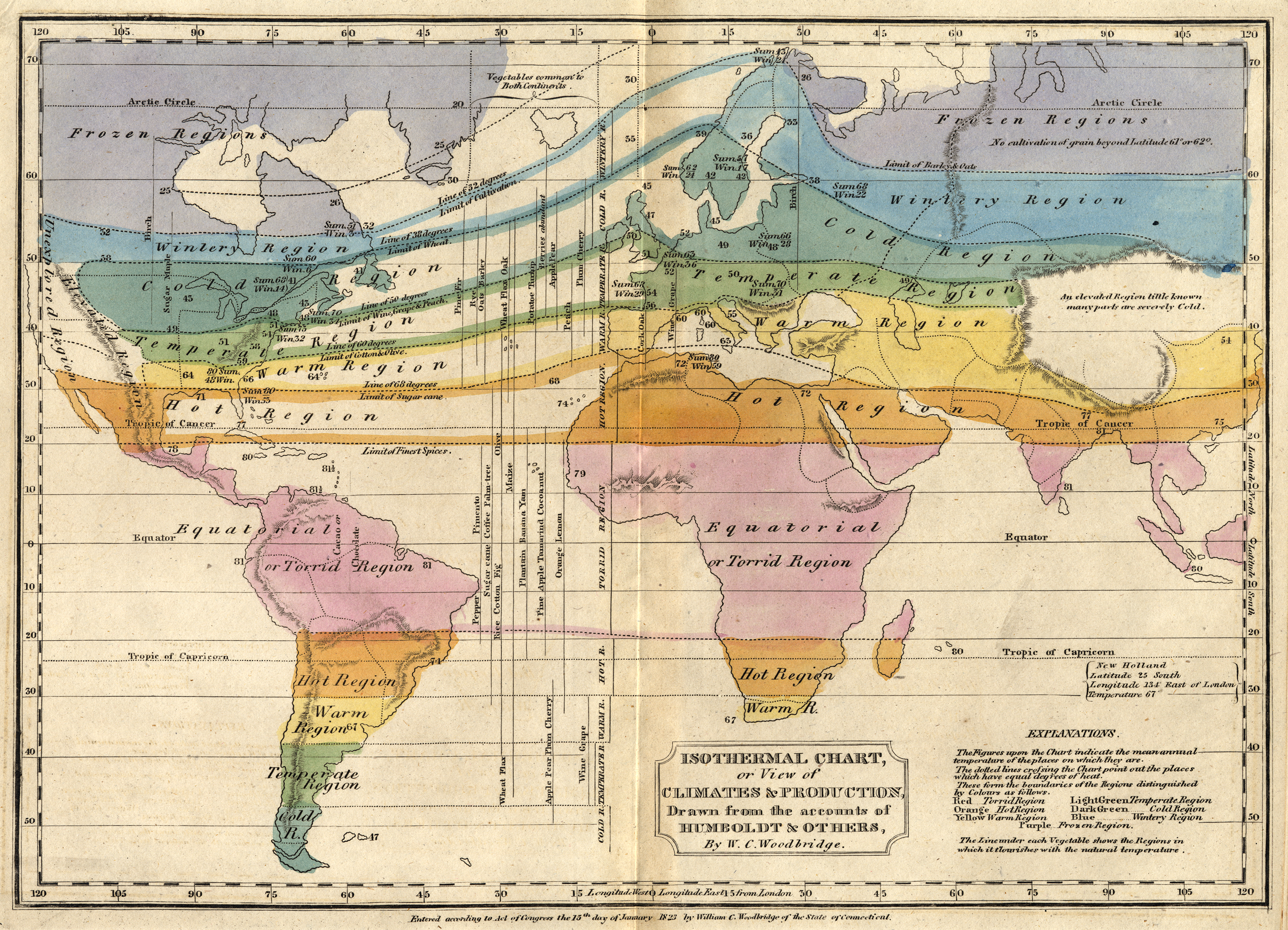 Soon after Humboldt's initial publications, early meteorologists like, William Channing Woodbridge, assembled his findings into early climate maps ( source )