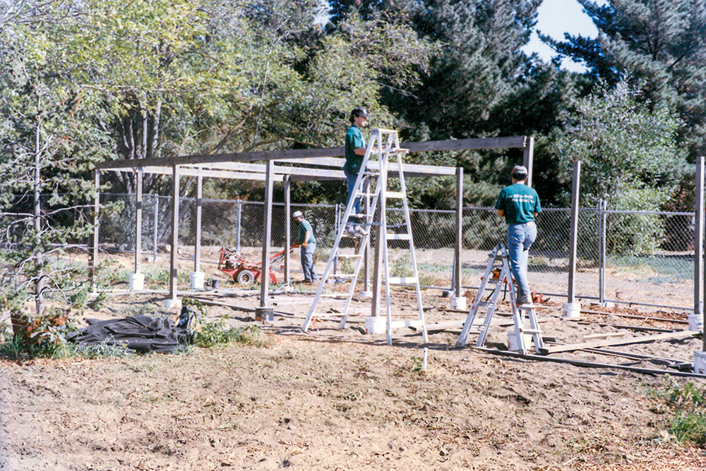 The beginning of the Watson Park Tree Bank shade structure.
