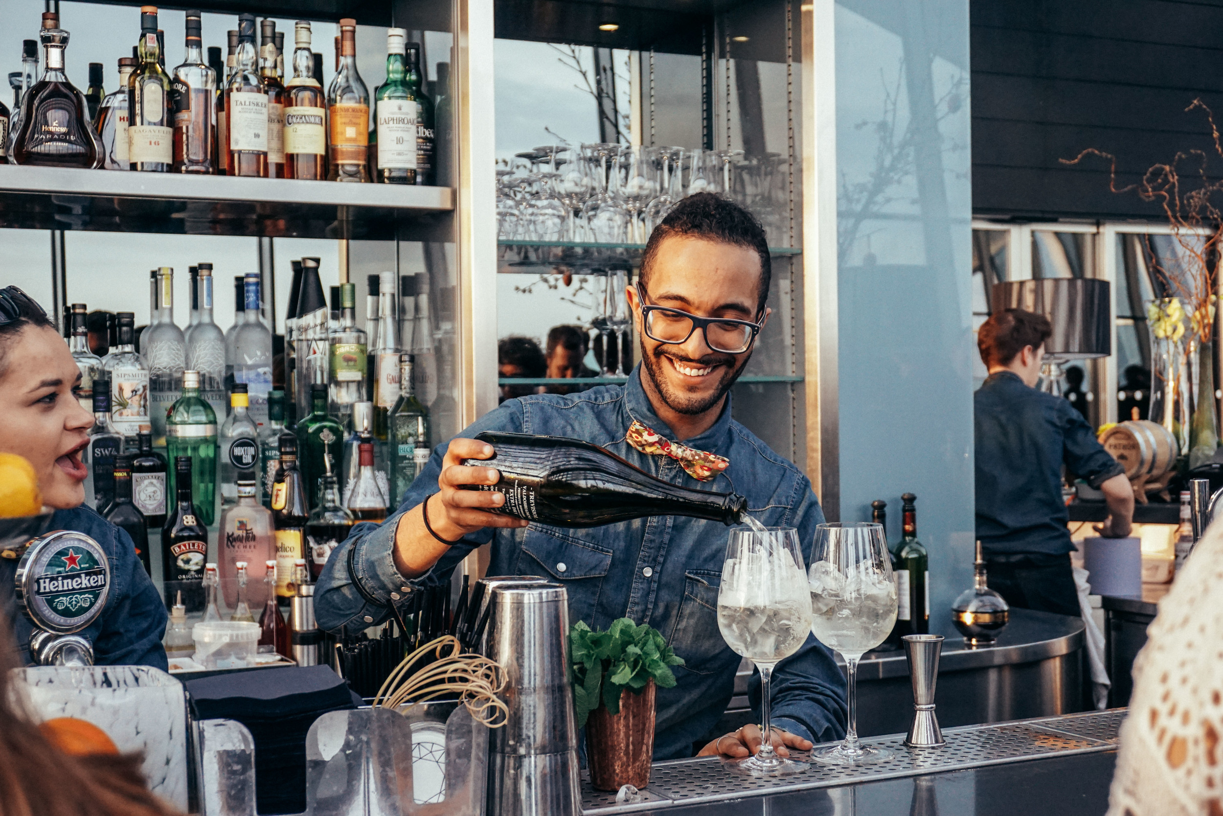 Making drinks at Sky Gardens at 20 Fenchurch Street.