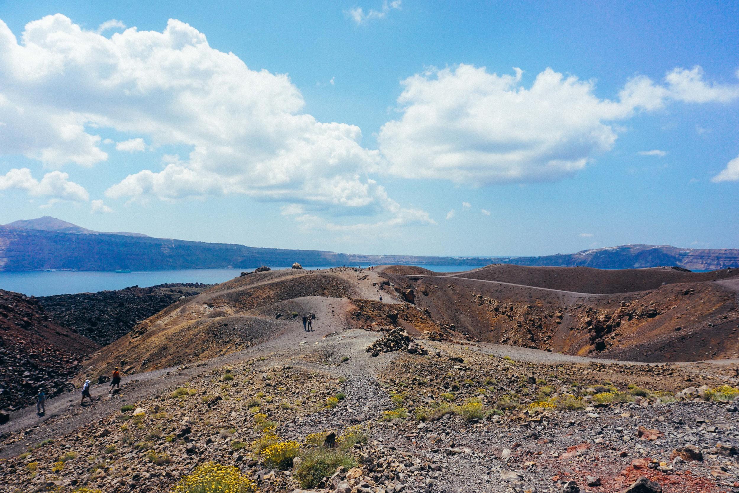 Greece, Santorini, Nea Kameni and Palia Kameni. Volcano island.