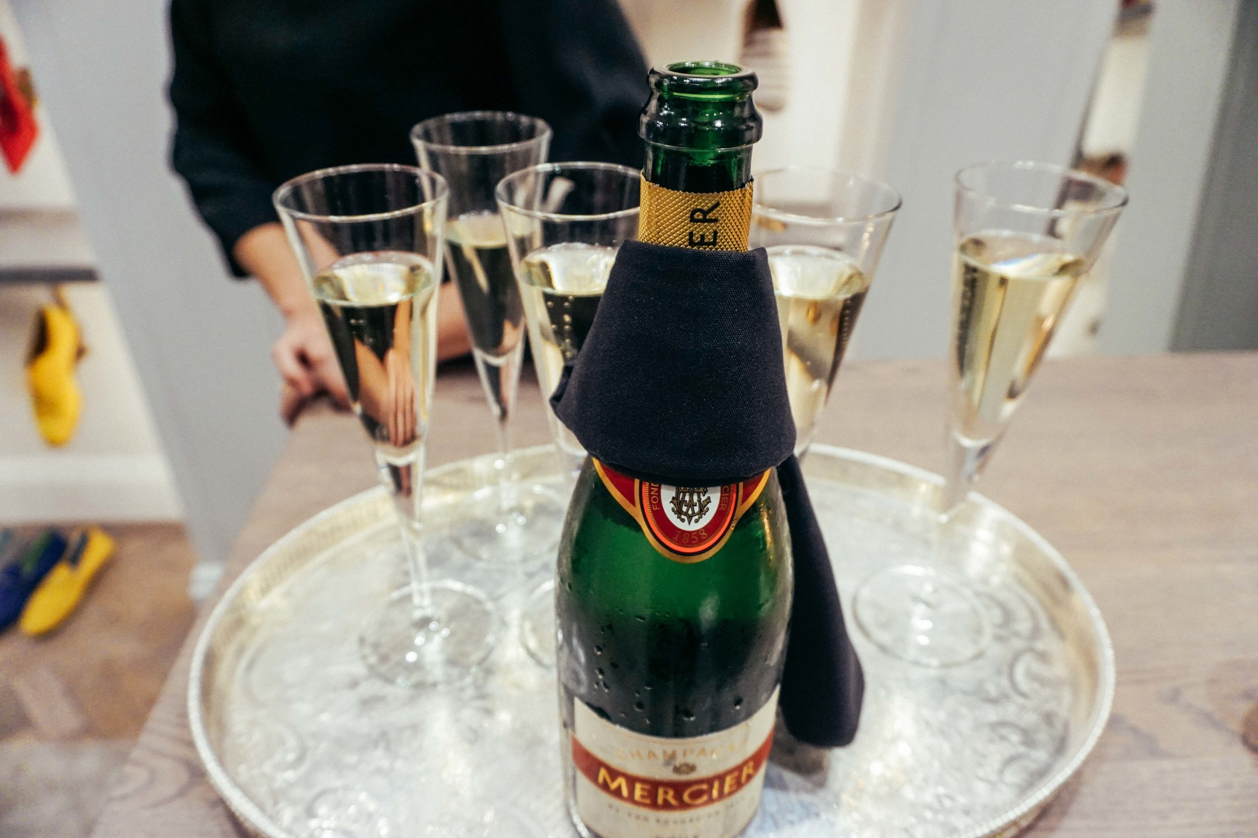 Champagne cocktails with Manolo Blahnik.