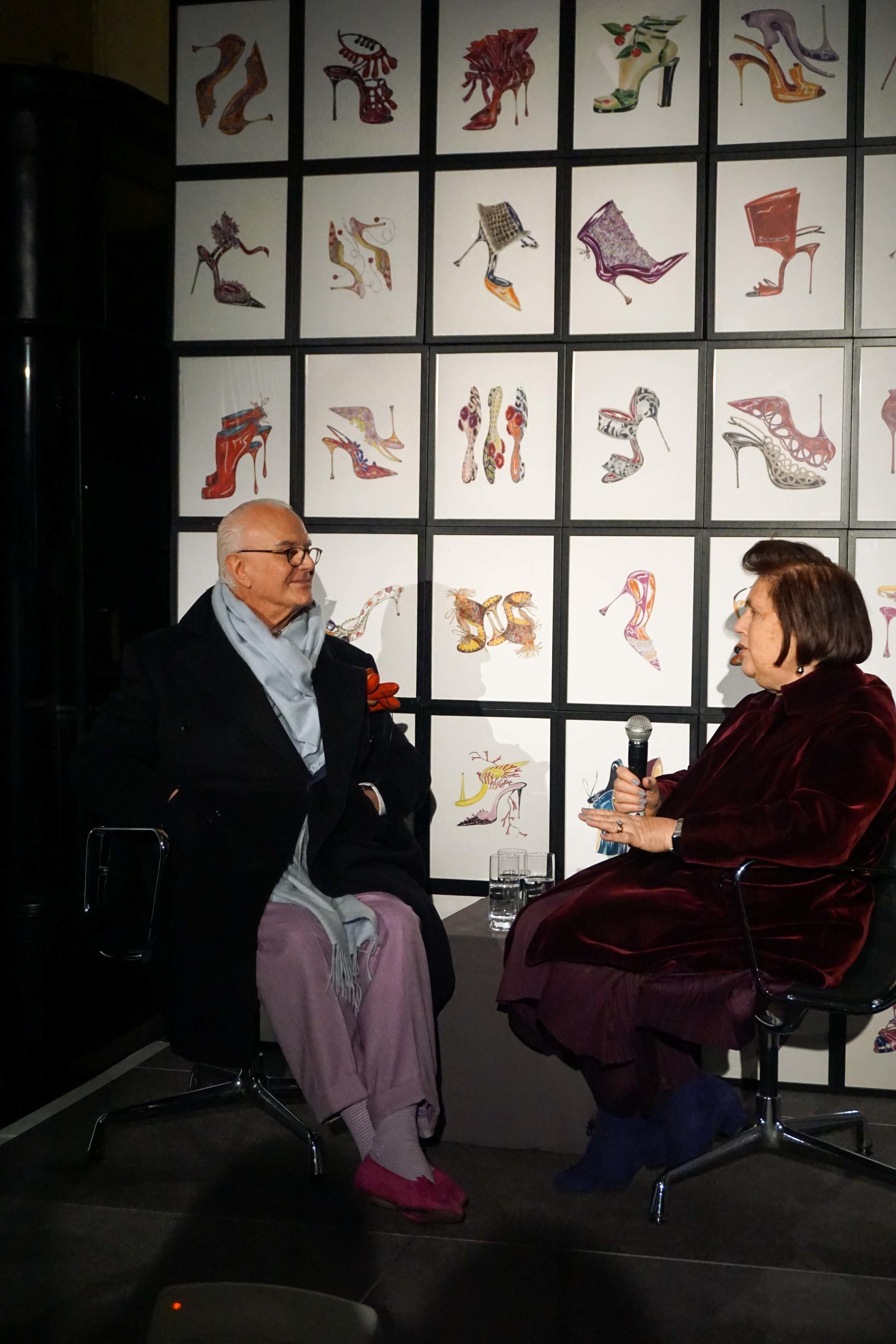 Manolo Blahnik speaking at the Press Release in the Burlington Arcade, Mayfair.