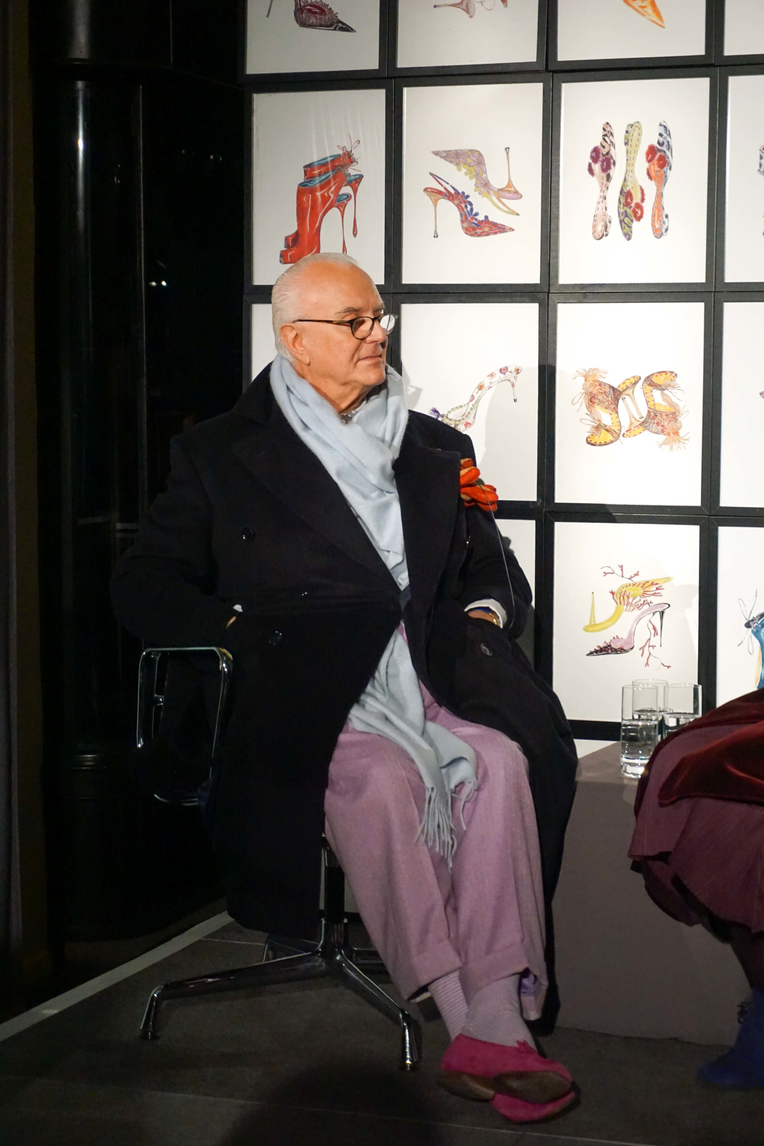 Manolo Blahnik speaking at Burlington Arcade, Mayfair.