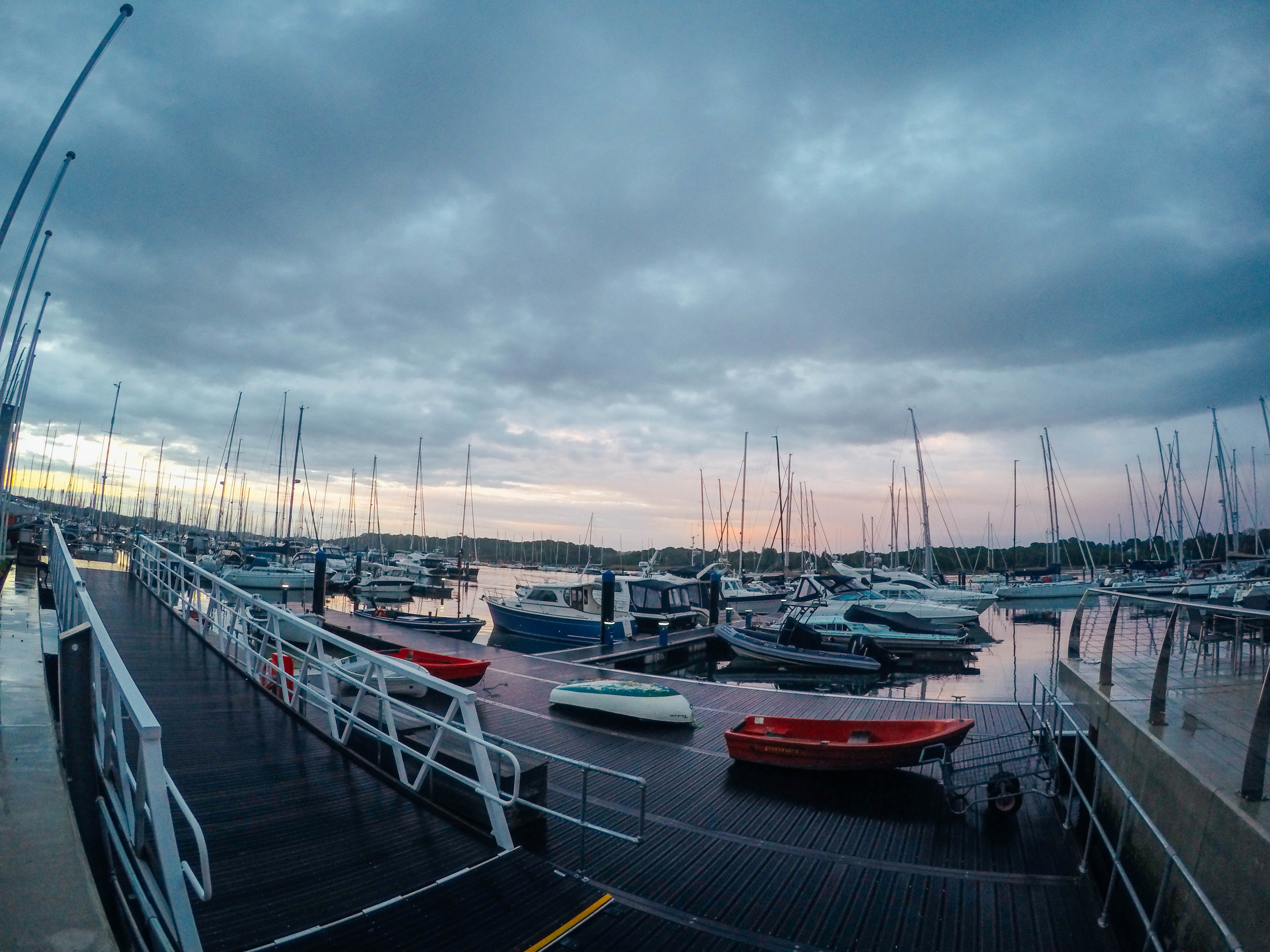 Beautiful sunset over the Royal Southern Yacht Club in Southampton