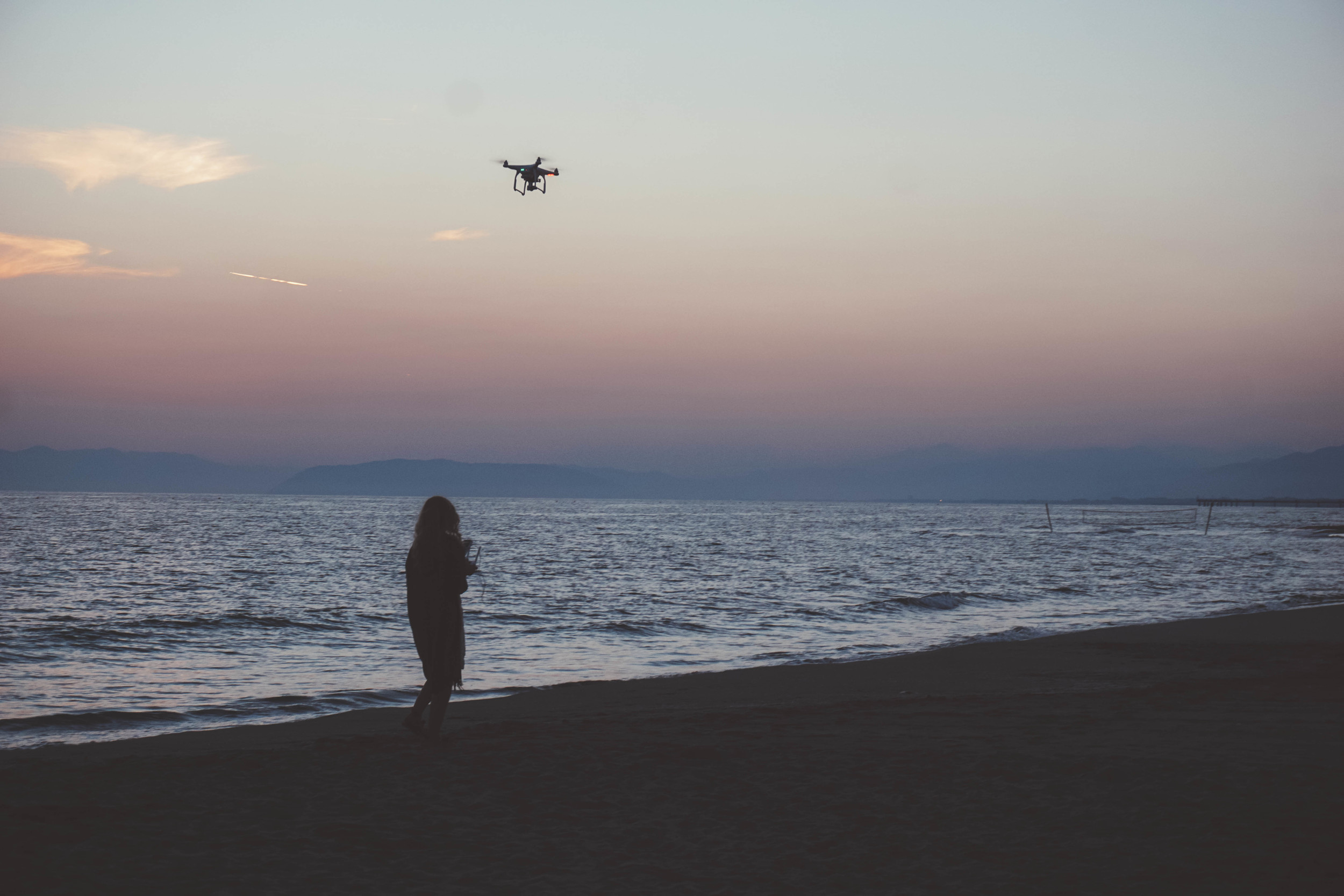 Drone photography in Lido di Camaoire. Beach & ocean shots during the sunset.