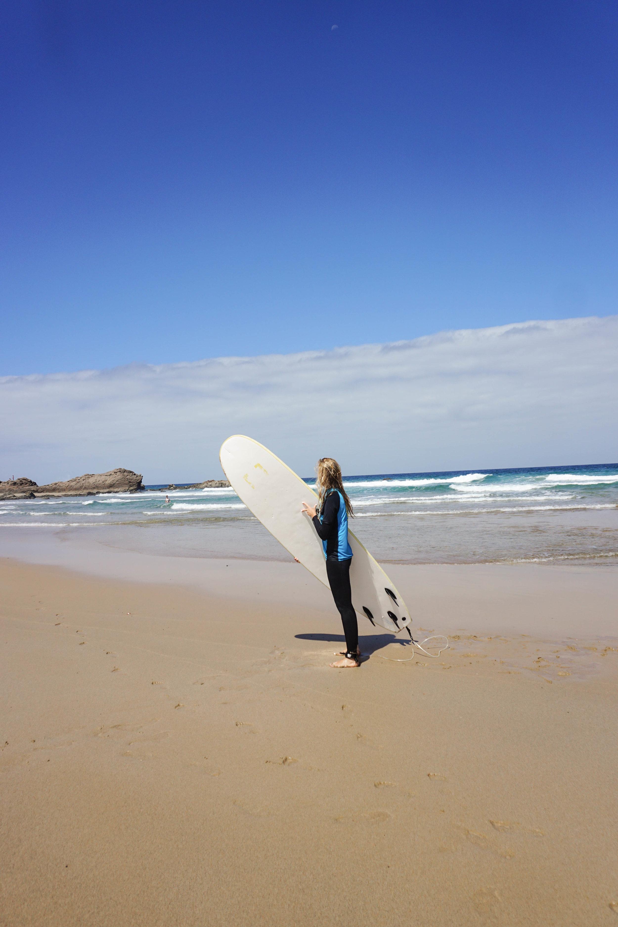Surfing in Tindaya beach with 7 Island Surf in Fuerteventura