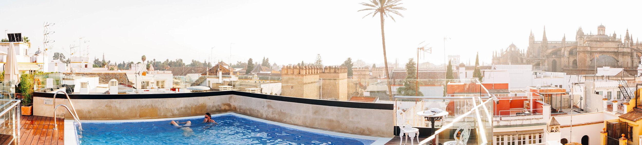 Hotel Casa 1800. Panoramic Rooftops in Seville Spain.