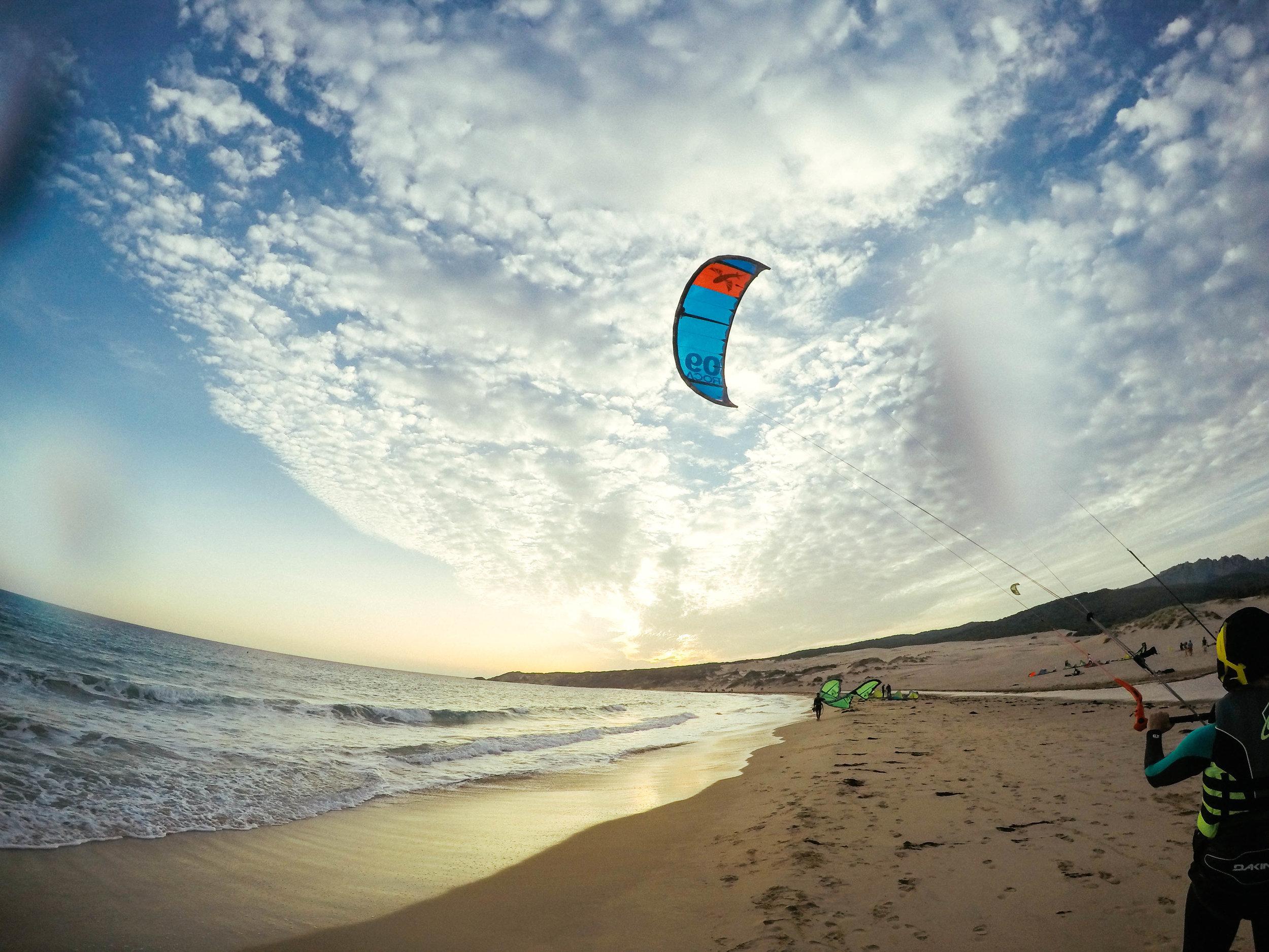 Kitesurfing Tarifa, Spain. GoPro Sunset.