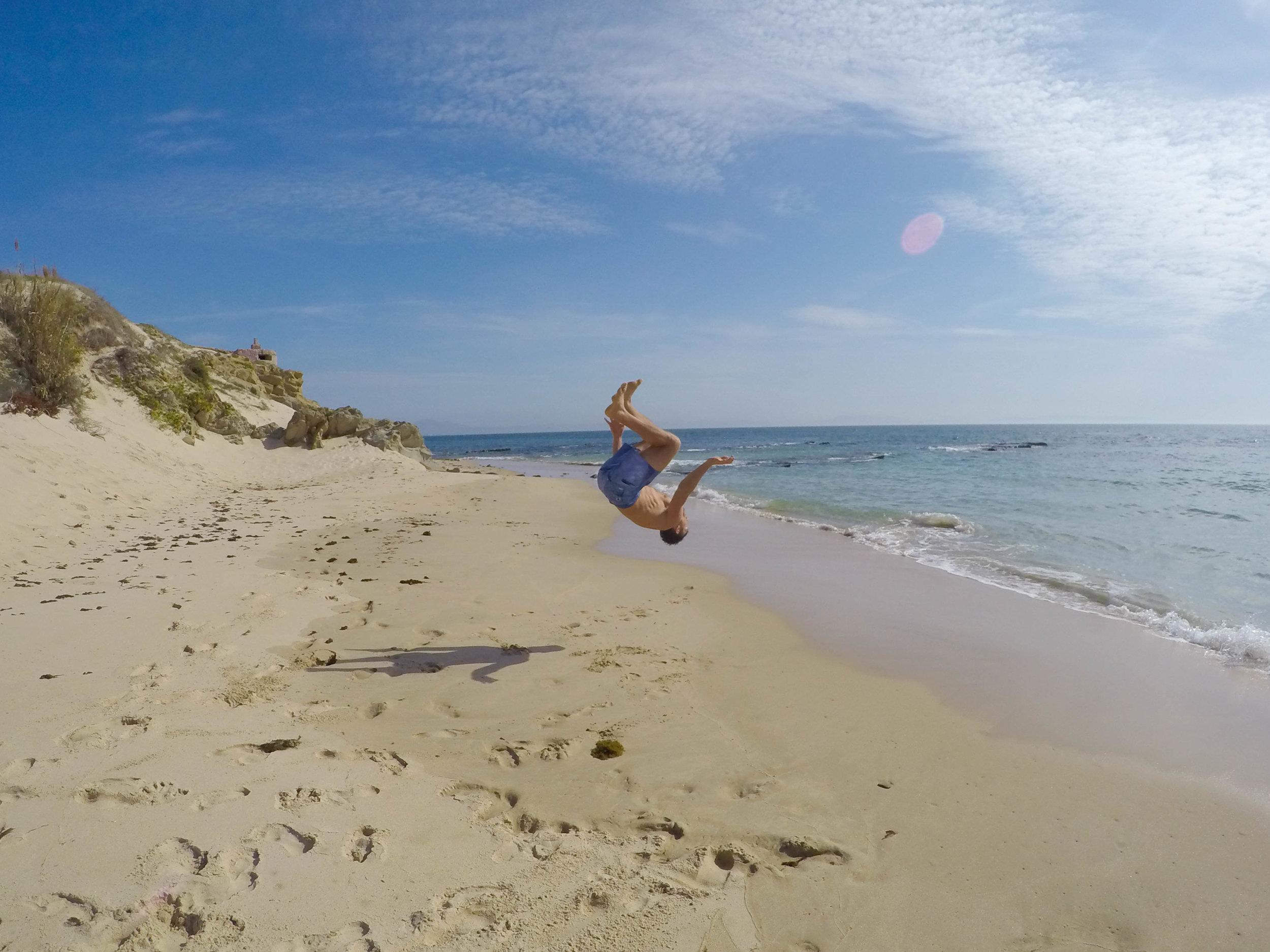 Flips in the sand in Tarifa.
