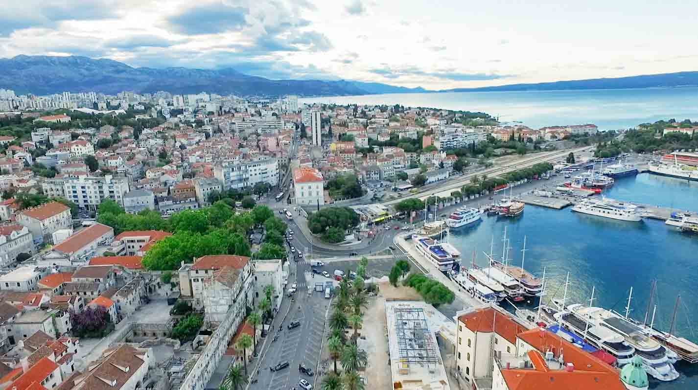 Drone photography in Split, Croatia.