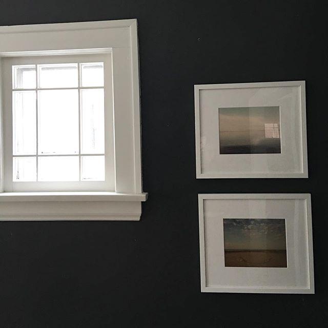 Bye, bye gallery wall. Hello minimalism! #darkdiningroom #darkwalls #minimalist #snowday