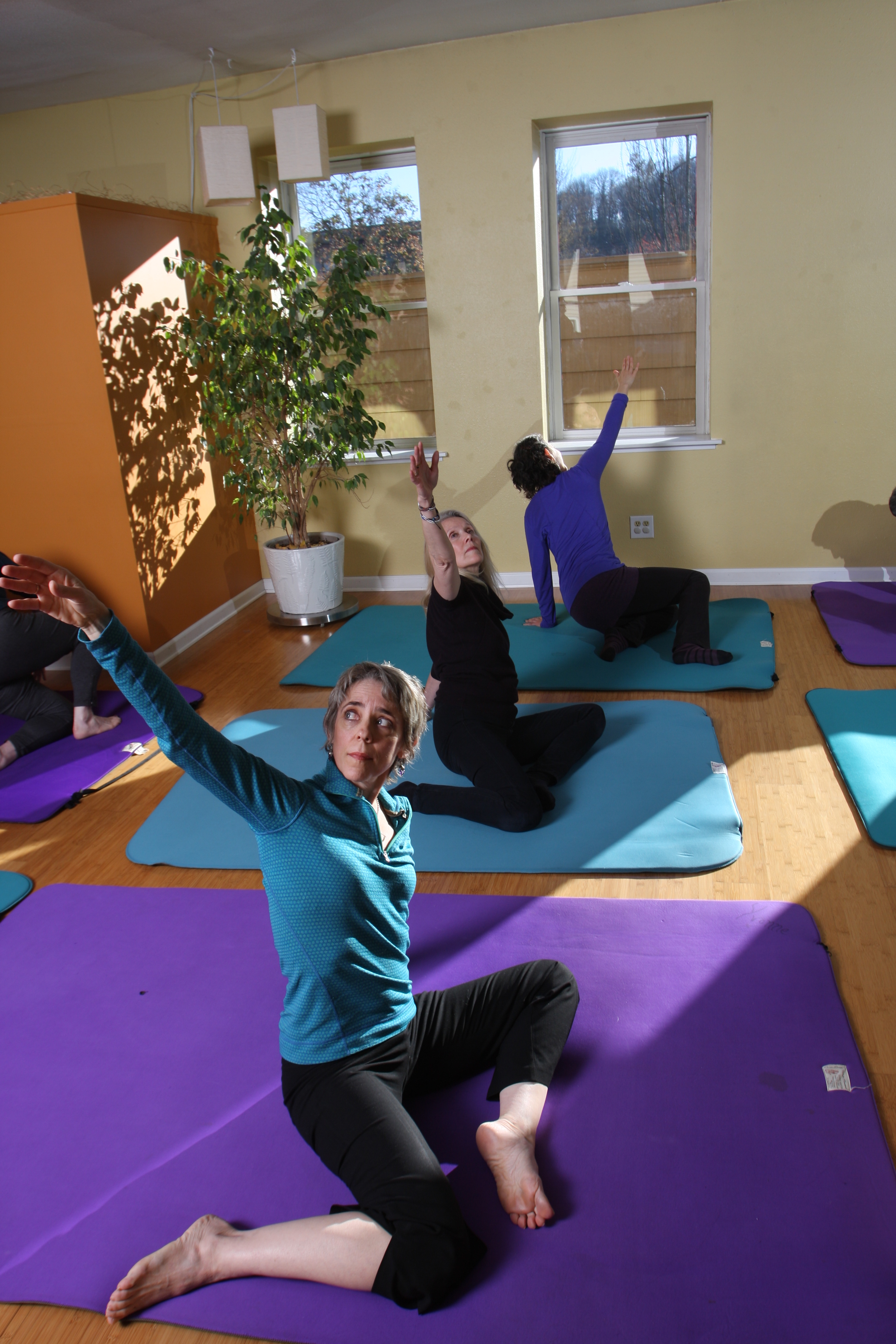[from front]  Janelle Keane Campoverde, Barbara Young and Sheri Cohen in an Awareness Through Movement class.