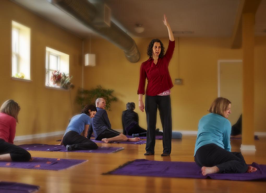 Sheri  leads a  Feldenkrais  class at Lotus Yoga studio in Columbia City. photo: Benjamin Benschneider