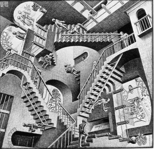 M.C. Escher's  Relativity , 1953