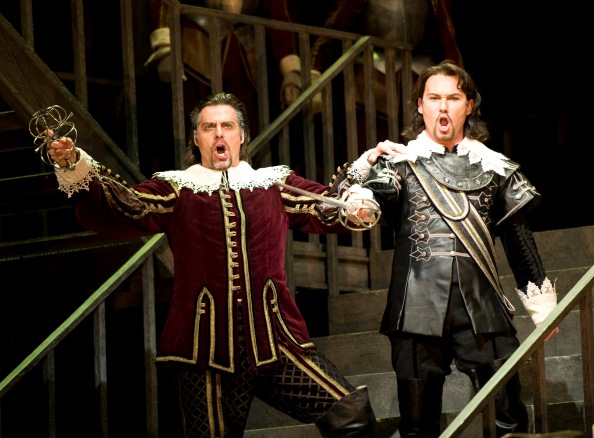 """Relyea as Giorgio (Left), Kwiecien as Riccardo (Right) in """"Suoni la tromba"""", Act 2"""