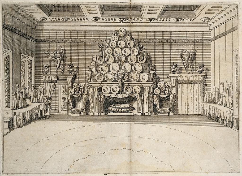 Credenza of silverware in the Palazzo Vizzani in Bologna, 1693