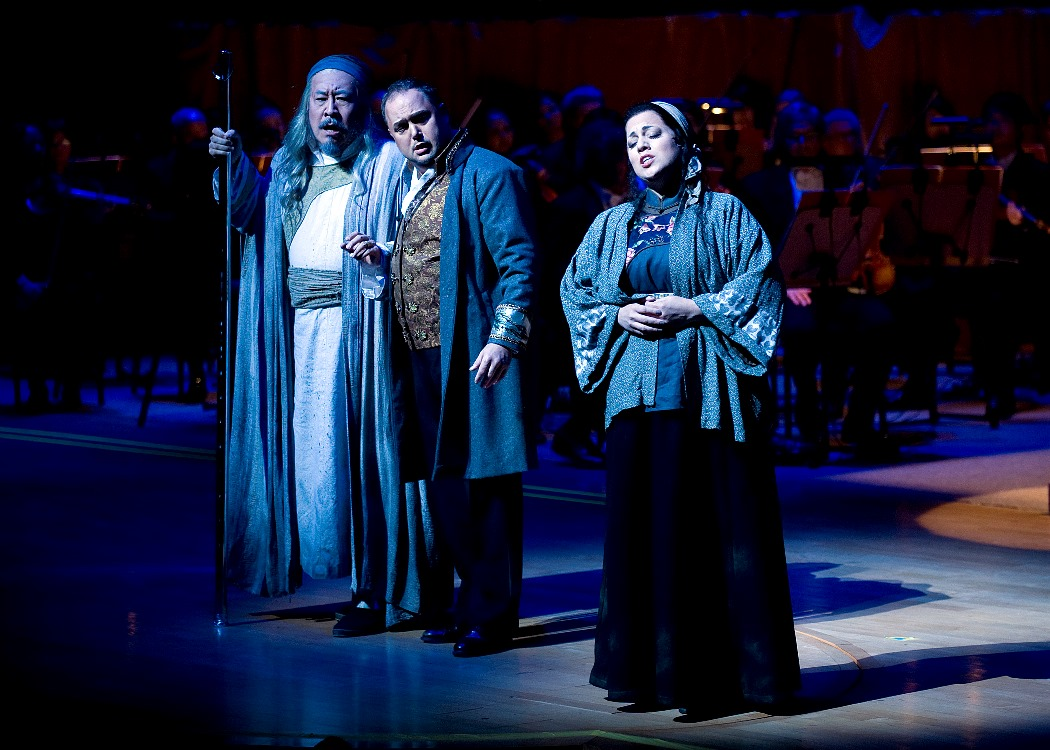 Hao Jiang Tian as Timur, Marc Heller as Calaf, Elizabeth Caballero as Liu (Photo: Nick Koon)