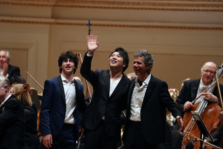"""Maxim Lando, Lang Lang and Chick Corea, collaborators in Gershwin's """"Rhapsody in Blue"""" on Wednesday at Carnegie Hall.Credit: Michelle V. Agins/The New York Times"""