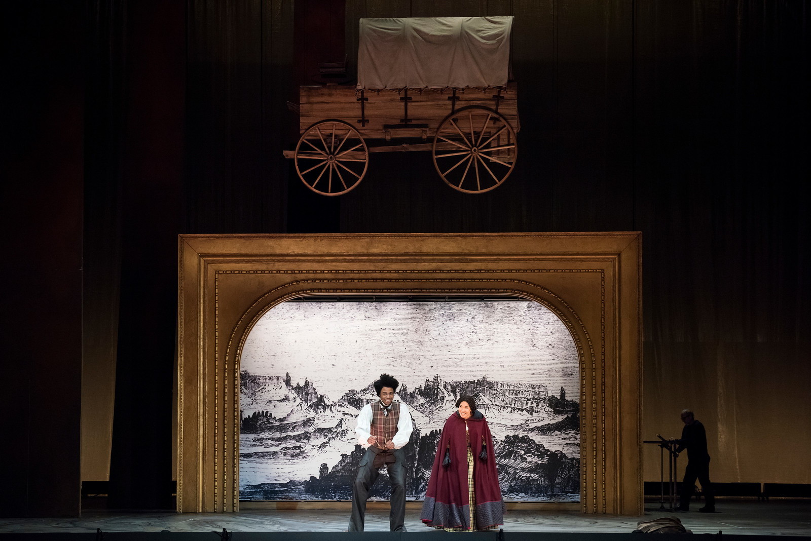 Davóne Tines as Ned Peters and Julia Bullock as Dame Shirley.  Photo: Stefan Cohen
