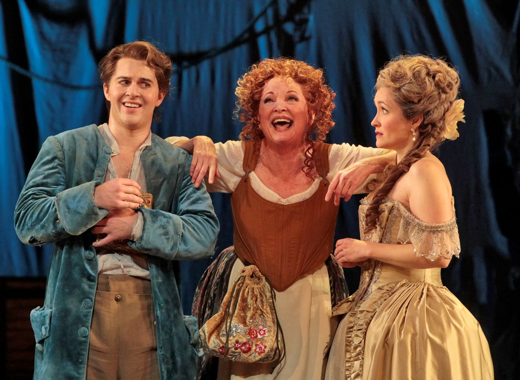 (L to R): Jack Swanson as Candide, Christine Eversole as Old Lady, Erin Morley as Cunegonde