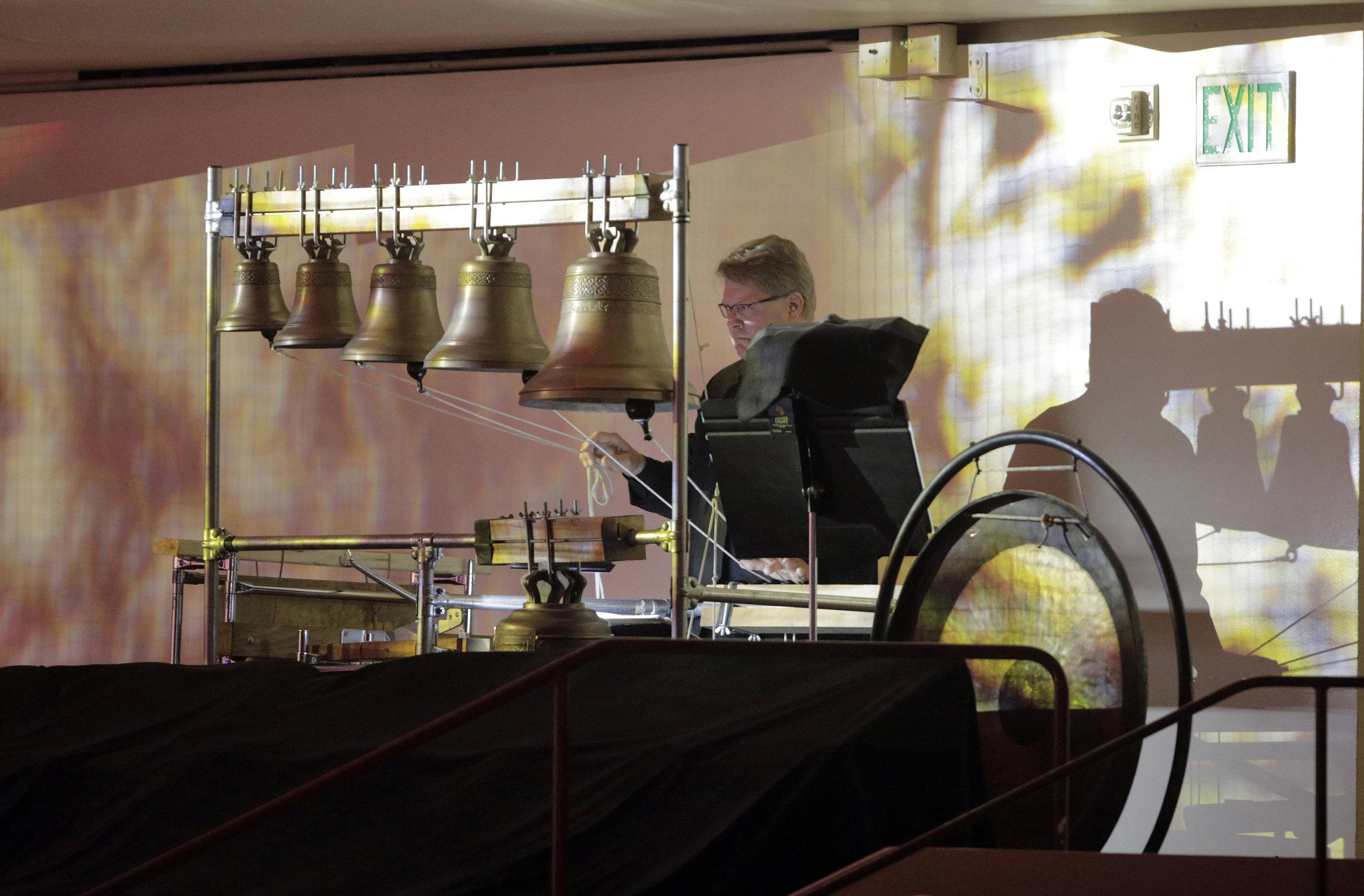 San Francisco Symphony Percussionist Victor Avdienko plays the Blagovest Bells, signaling Boris' coronation.