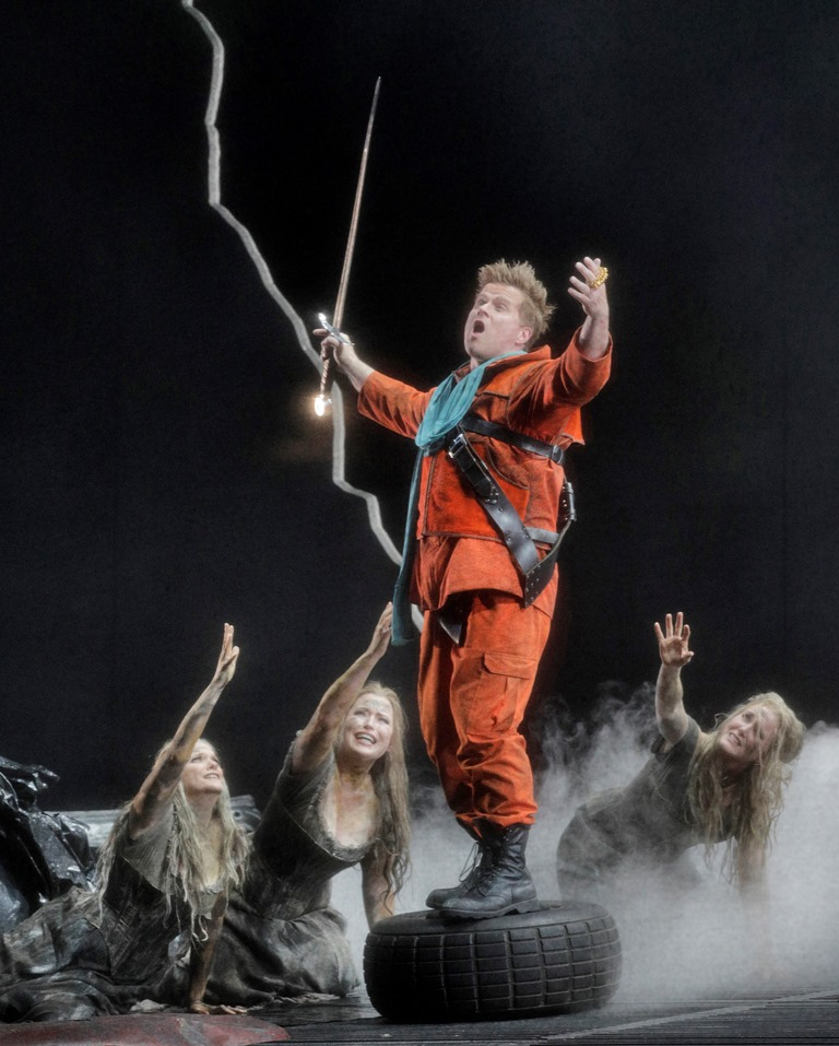 Daniel Brenna as Siegfried surrounded by Stacey Tappan (Woglinde), Renée Tatum (Flosshilde) and Lauren McNeese as Wellgunde